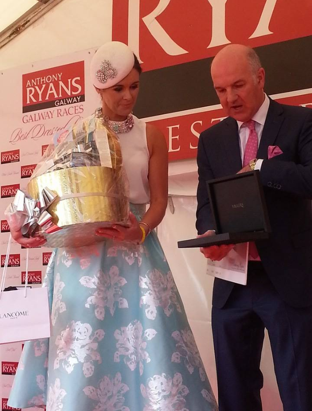 Helen Murphy from Cork wins Best Dressed at the Galway Races 2014 dressed in Coast RITA skirt