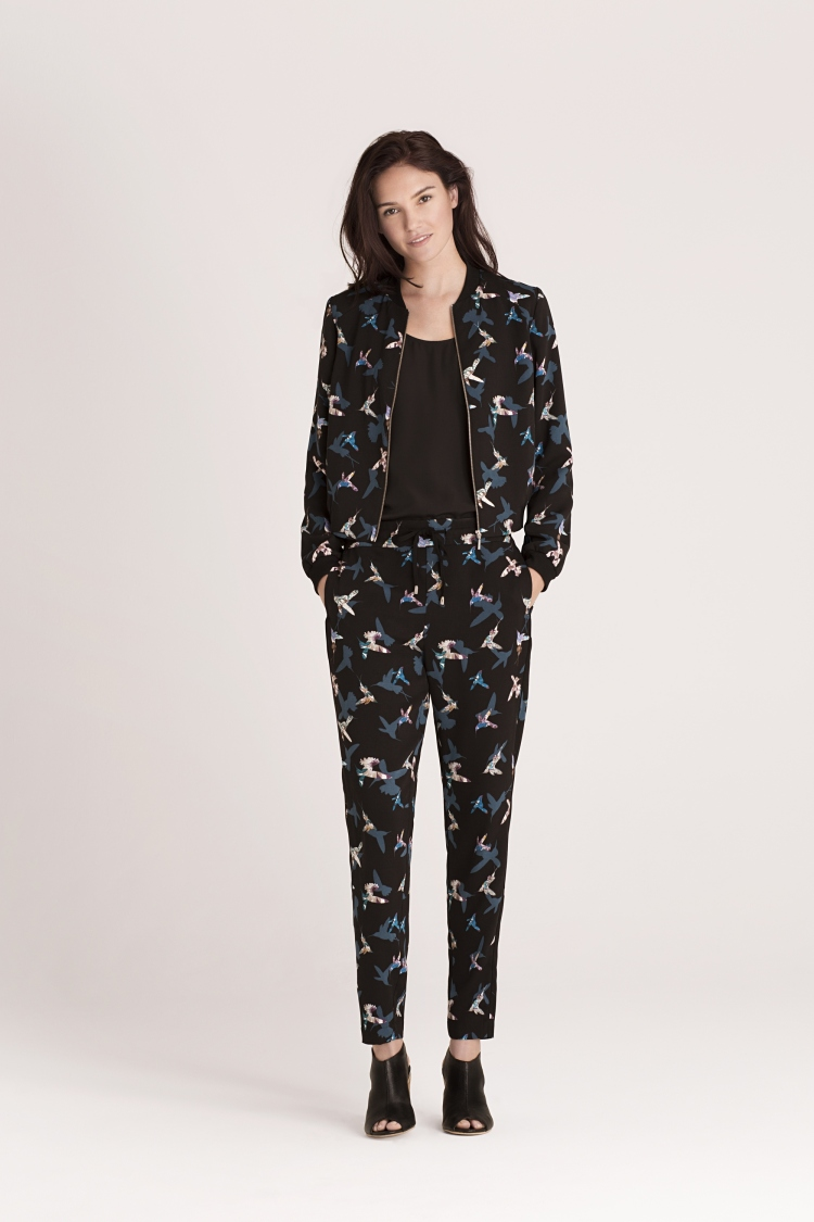 Peter Ting 'Flutter' printed bomber jacket EUR 69, trousers EUR 47, camisole top EUR 28, shoes EUR 62 Oasis