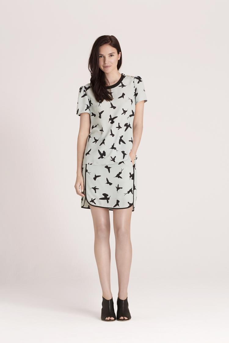 Peter Ting 'Flutter' printed top EUR 35, skirt EUR 35, shoes EUR 62 Oasis